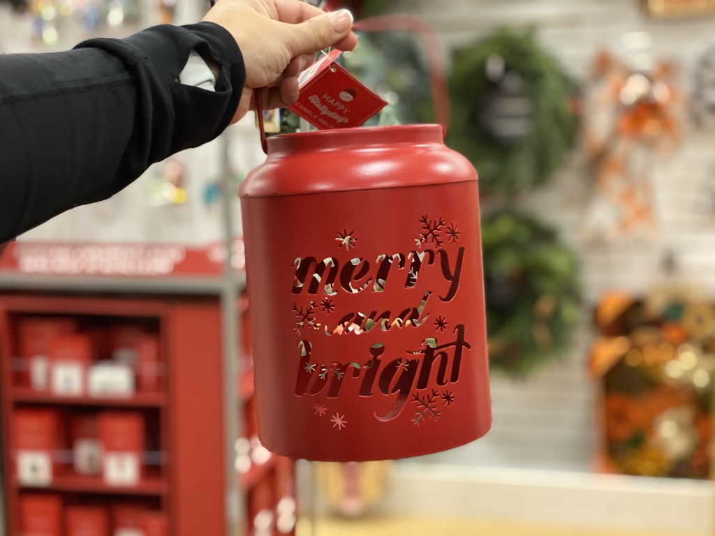 merry and bright lantern in hand at kohls