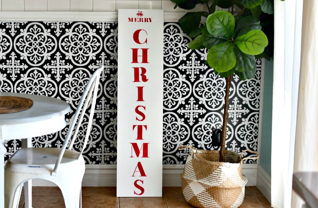 merry christmas porch sign with stencils