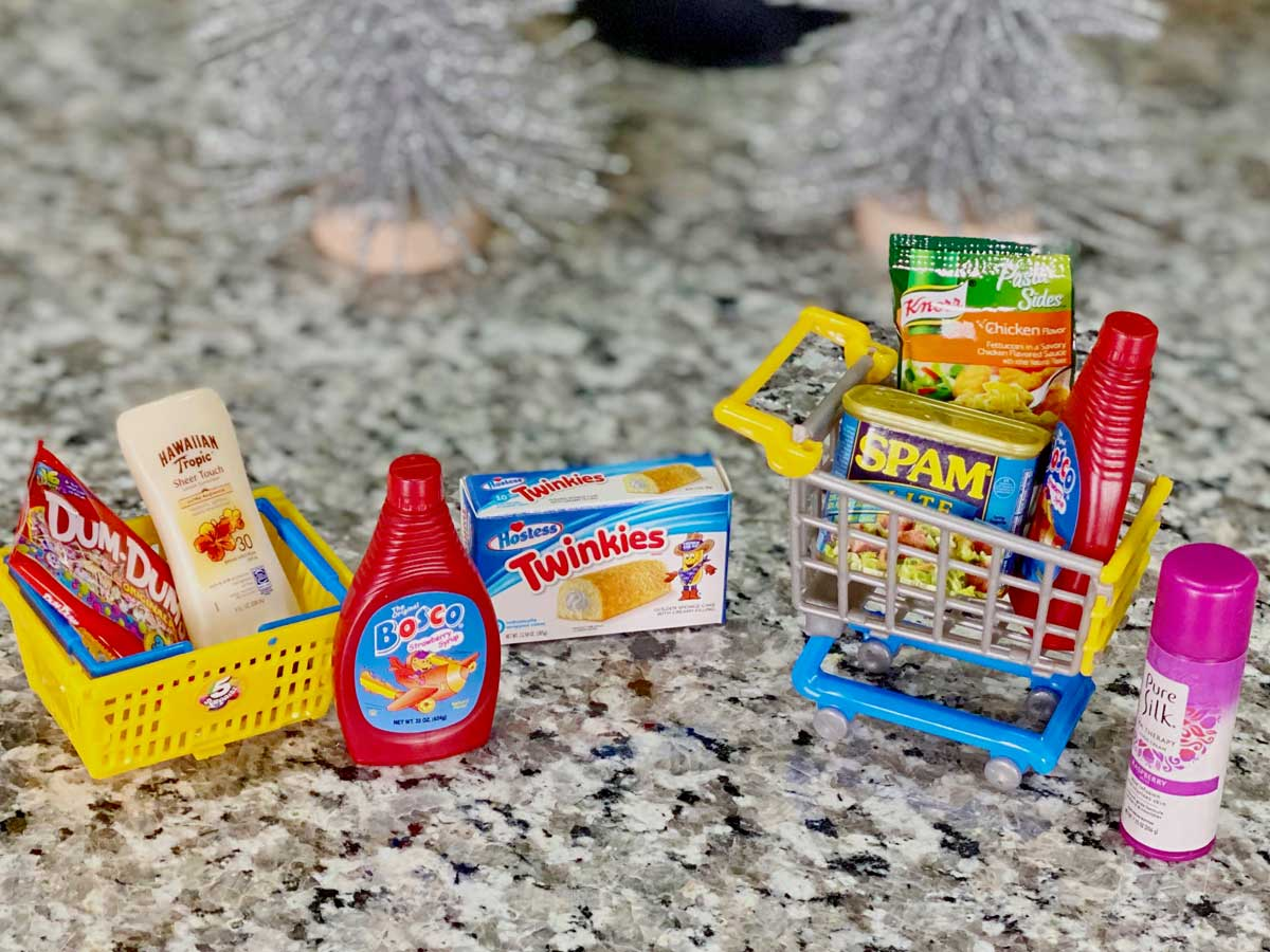 Mini brands products in shopping cart and basket