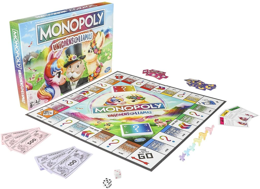 monopoly unicorns and llamas board game with pieces shown