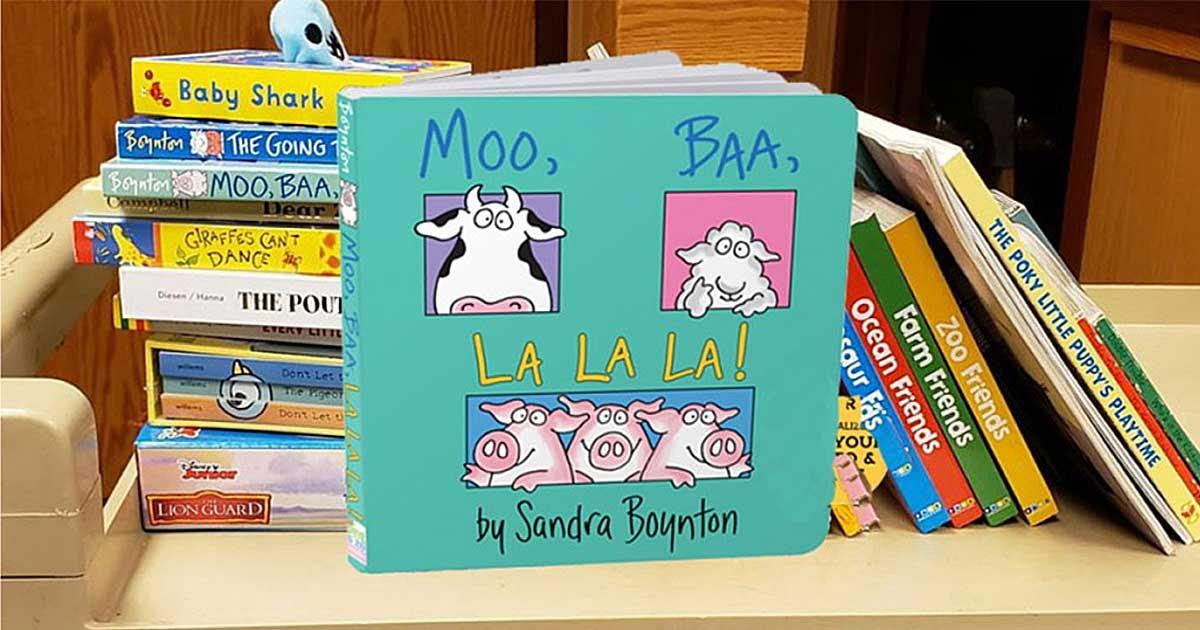 children's board book on a shelf