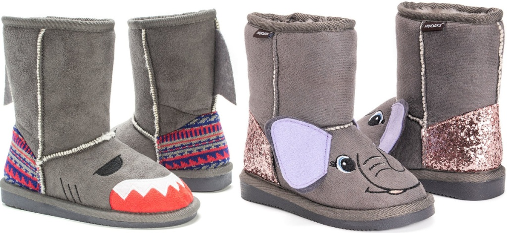 muk luk shark and elephant boots for kids
