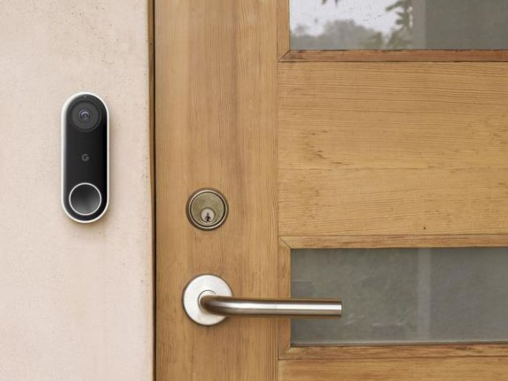 nest hello doorbell beside door