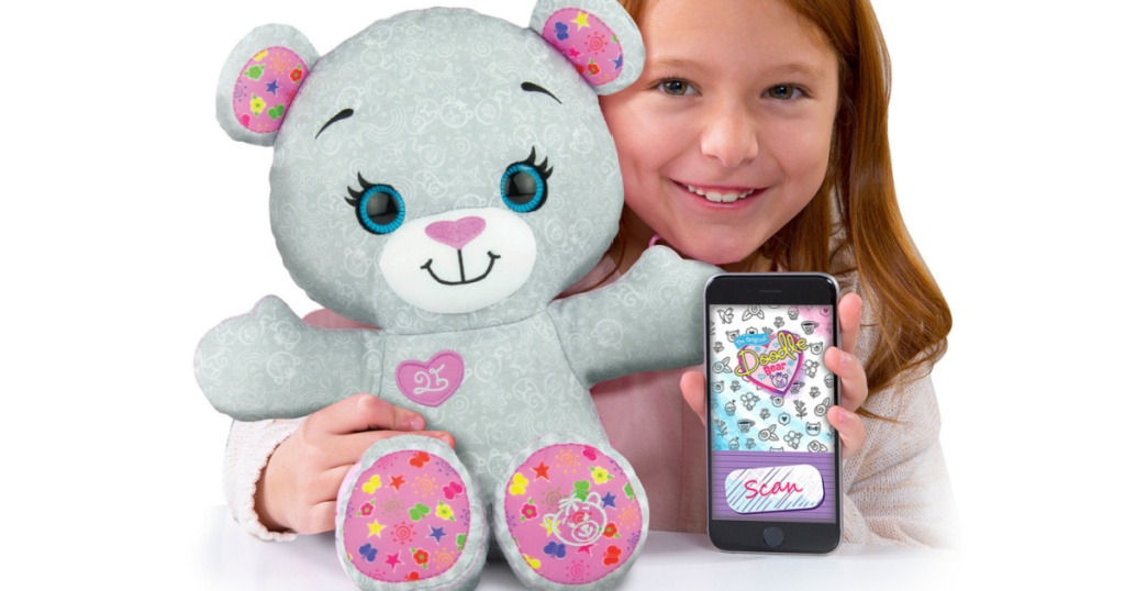 new doodle bear with little girl and phone