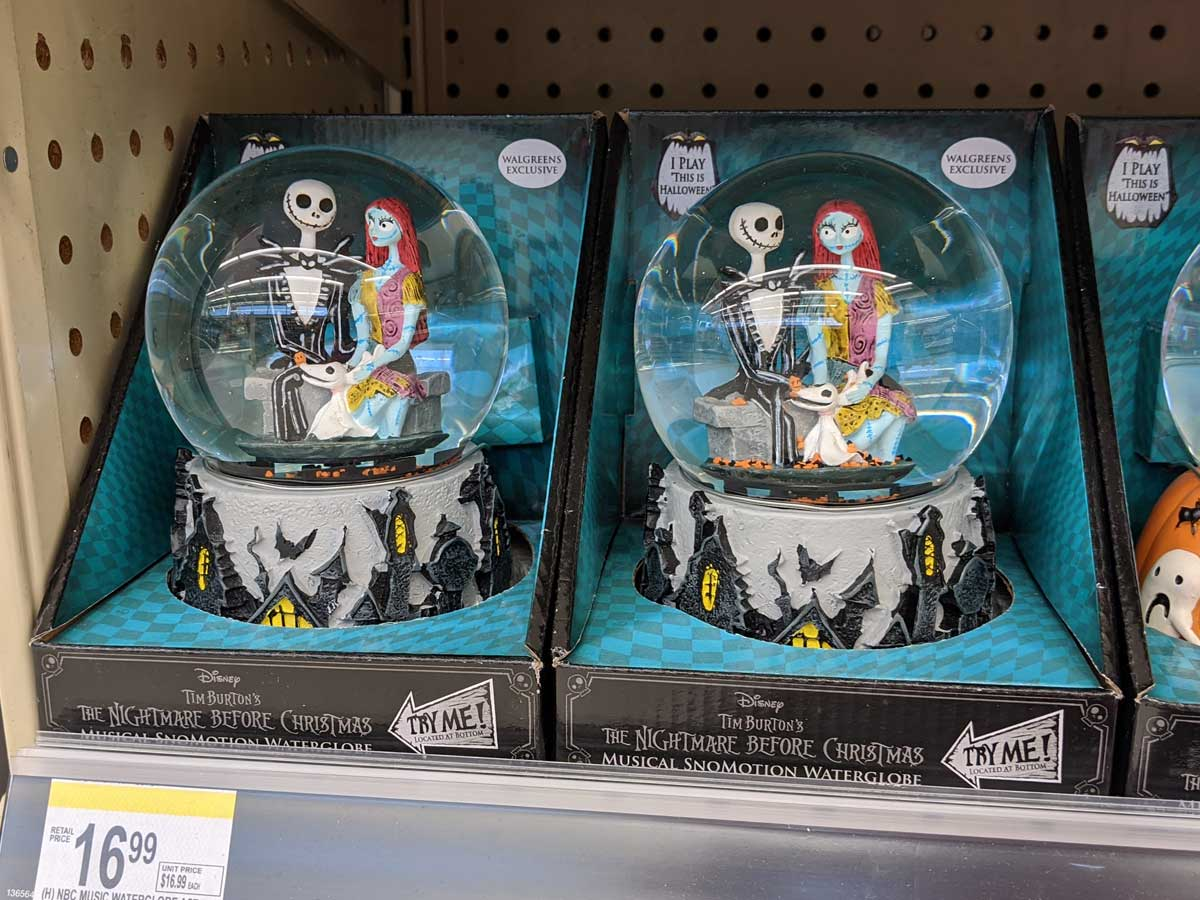 The Nightmare Before Christmas snow globe in package