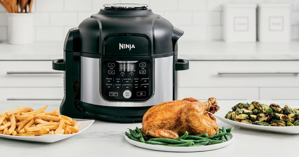 ninja foodi cooker with food on counter