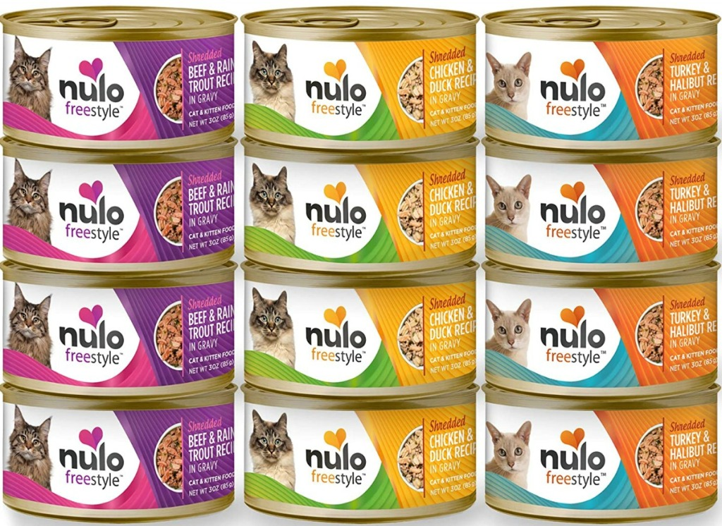 Large variety of cat food flavors in a stack