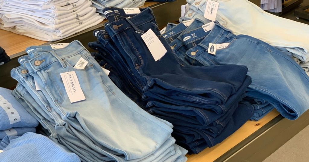 old navy jeans folded in store