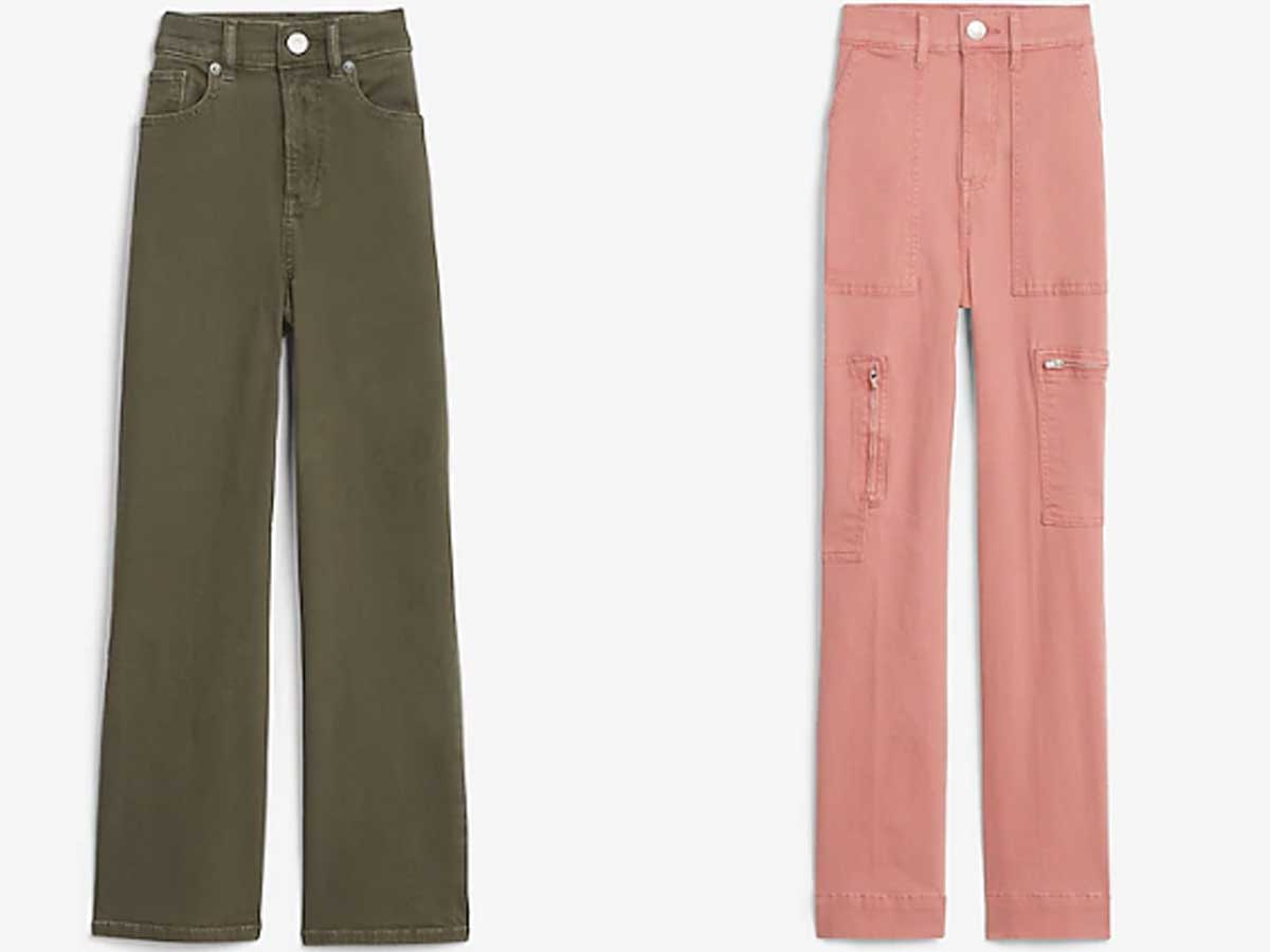 olive green and pink jeans stock images