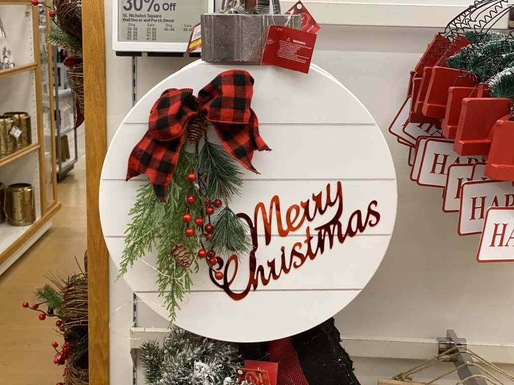 ornament sign in store at kohls
