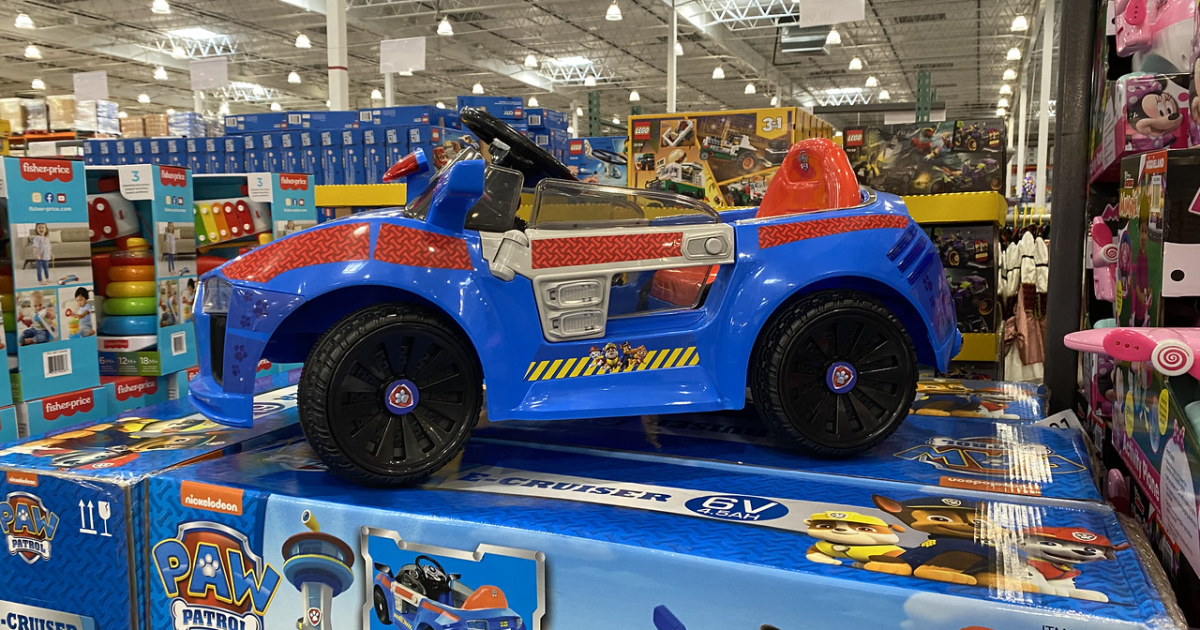 toddler sized blue car on store display