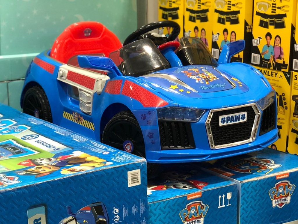 little car for kids to ride in on display at store