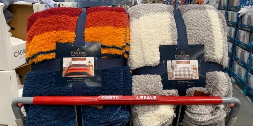 Pendleton Sherpa Queen Size Blankets Only $24.99 at Costco