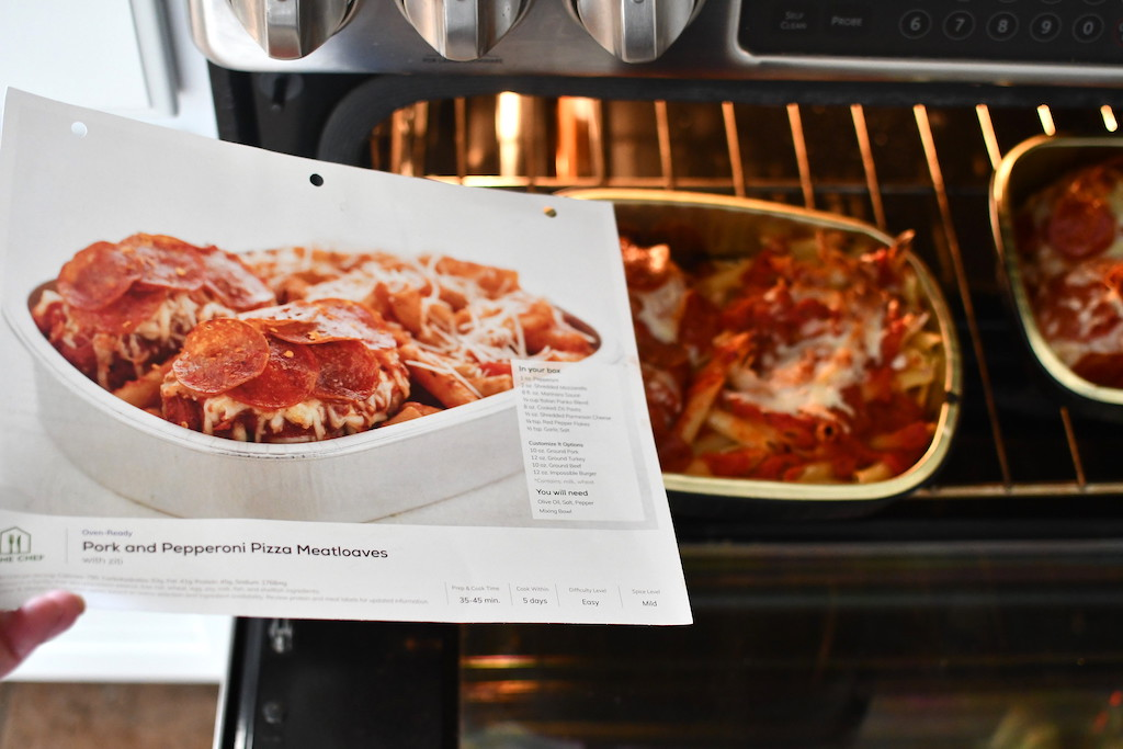 Home Chef Oven-Ready Pork and Pepperoni Pizza Meatloafs with Ziti