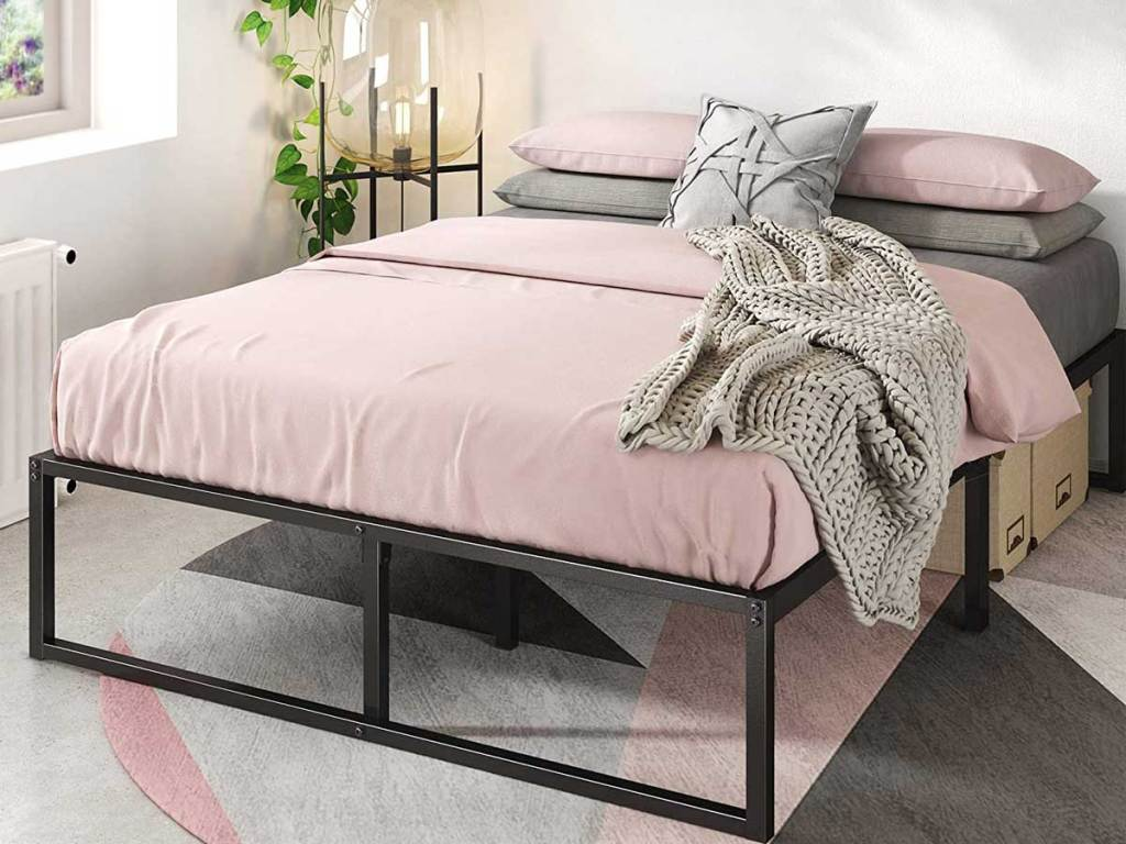 full size platform bed in a bedroom