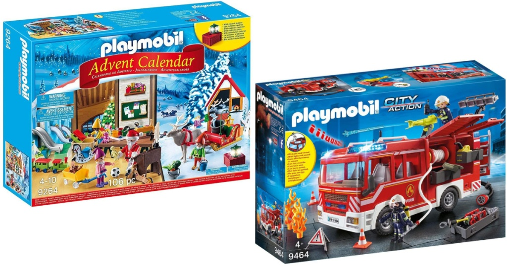 playmobile advent calendar and fire engine