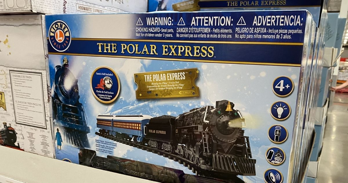 The Polar Express train set on display in store