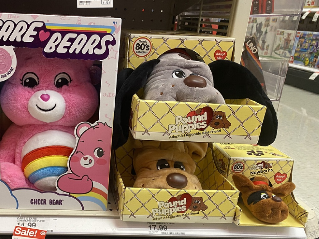 pound puppies and care bears on shelf at target