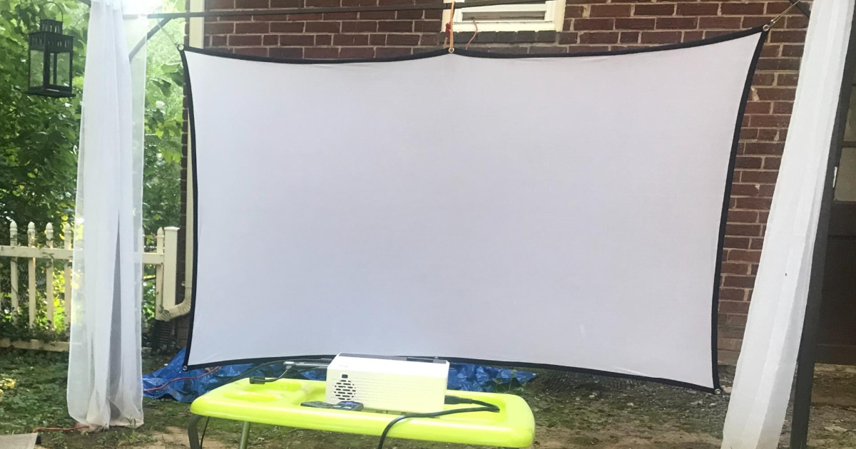 projector screen white screen stretched out hanging outside