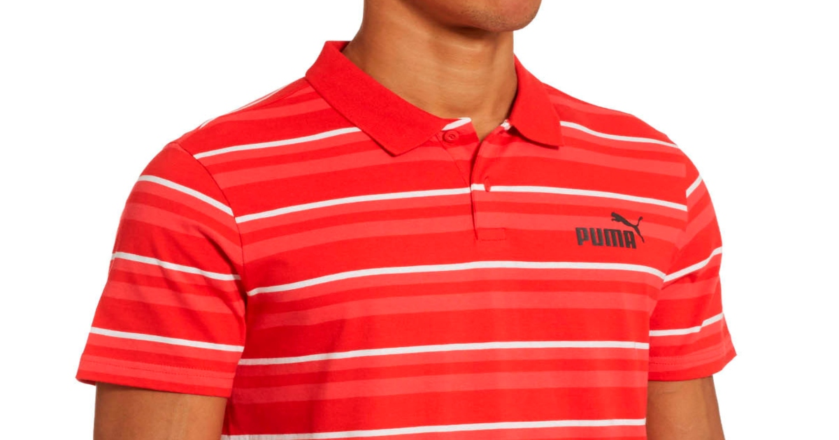 top half of a man wearing a red and white striped Puma Polo shirt