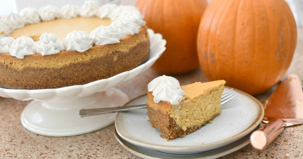 pumpkin cheesecake slice on a plate