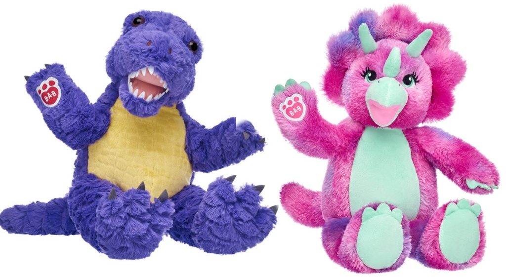 purple and pink dinosaurs from build a bear