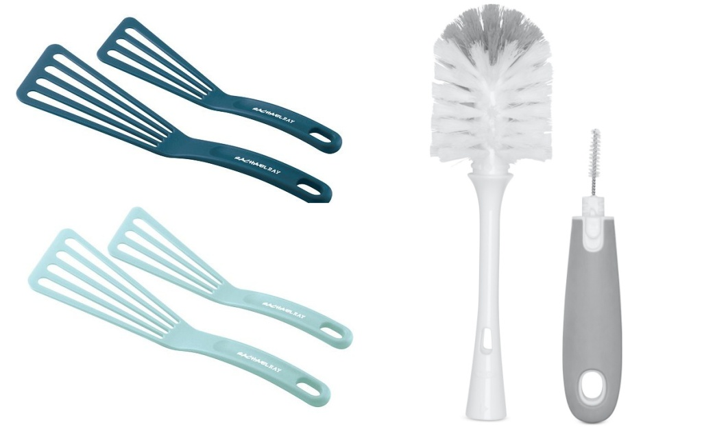 rachael ray and oxo kitchen gadgets spatulas and bottle brush