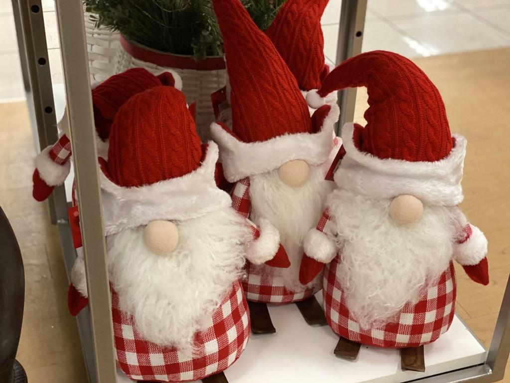 red gnome santa in store at kohls