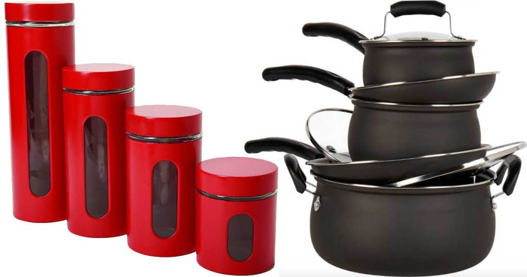 food storage set and pots and pans