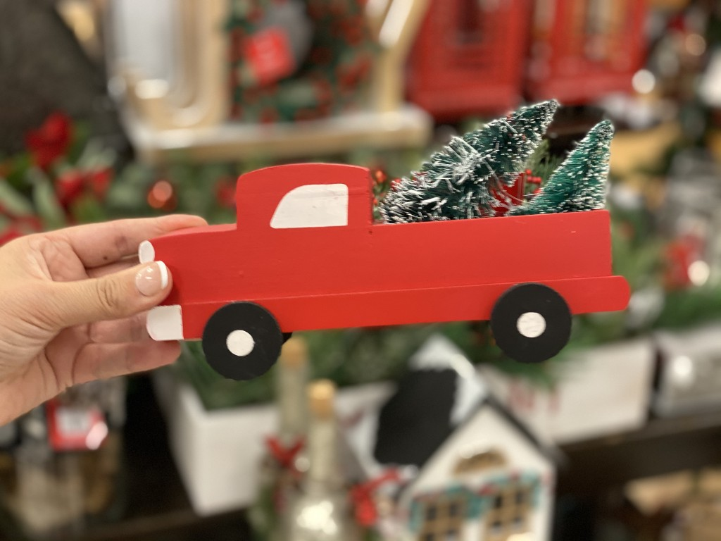 red truck table decor in hand at kohls
