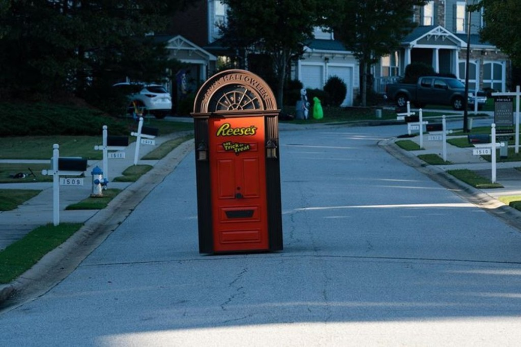 Reese's door rolling down a residential hill