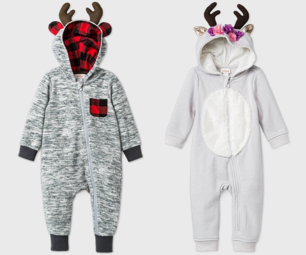 reindeer rompers two buffalo plaid and floral design