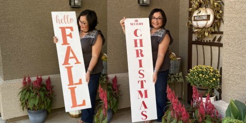 Make a Reversible Sign For Fall & Christmas Using Stencils