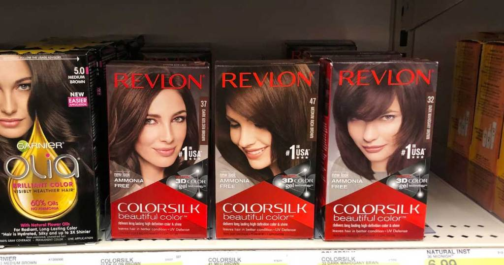 three boxes of hair color on a shelf