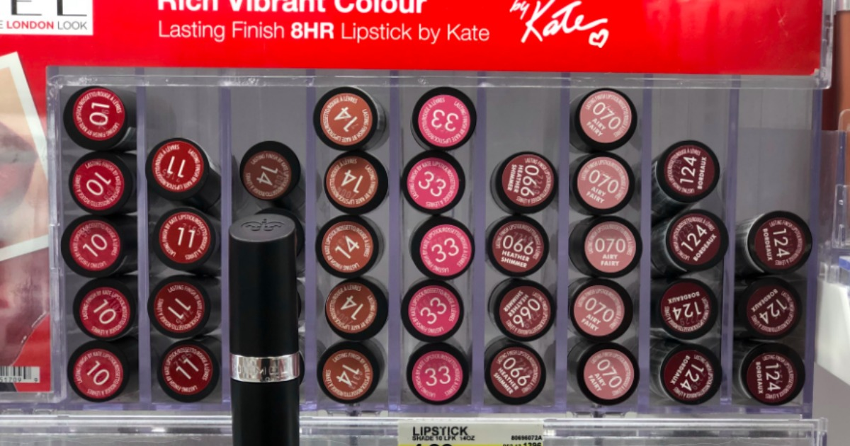 lipsticks on display in a store