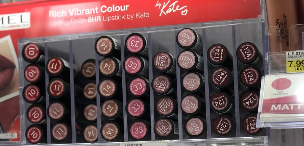 store display with lipsticks stacked up