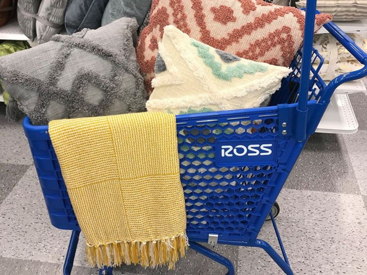 pillows and blankets in Ross shopping cart
