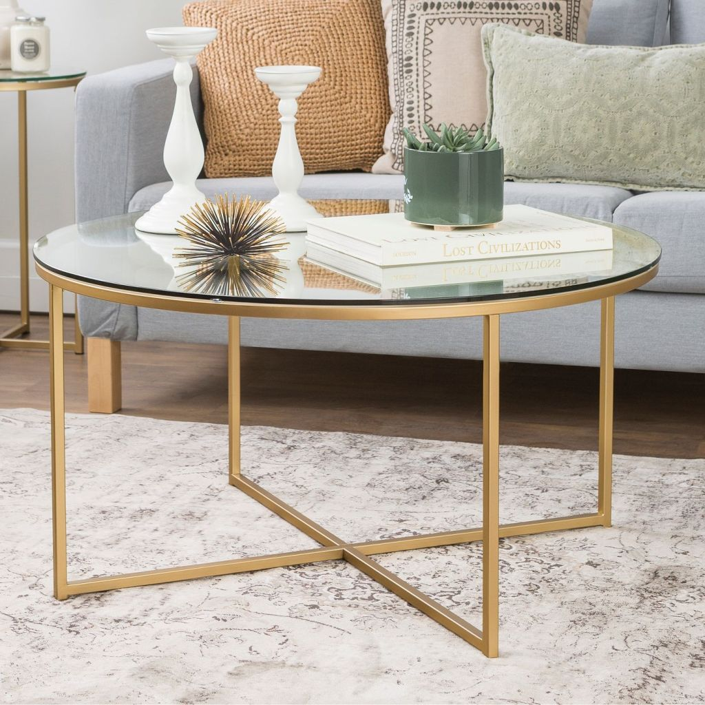 white and gold round coffee table