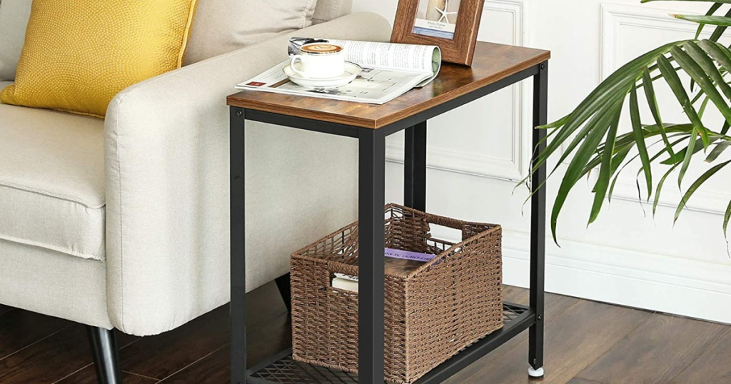 rustic side table near sofa and plant