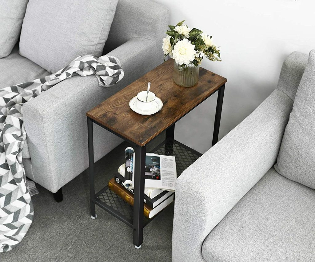 rustic table in between two couches