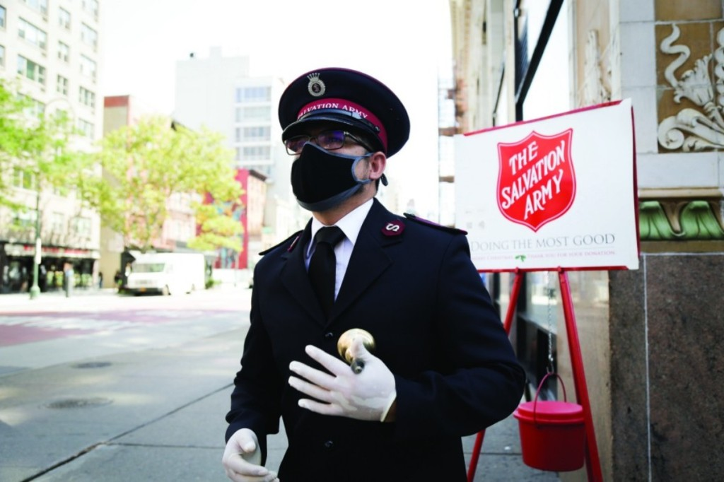 man ringing bell for Salvation Army