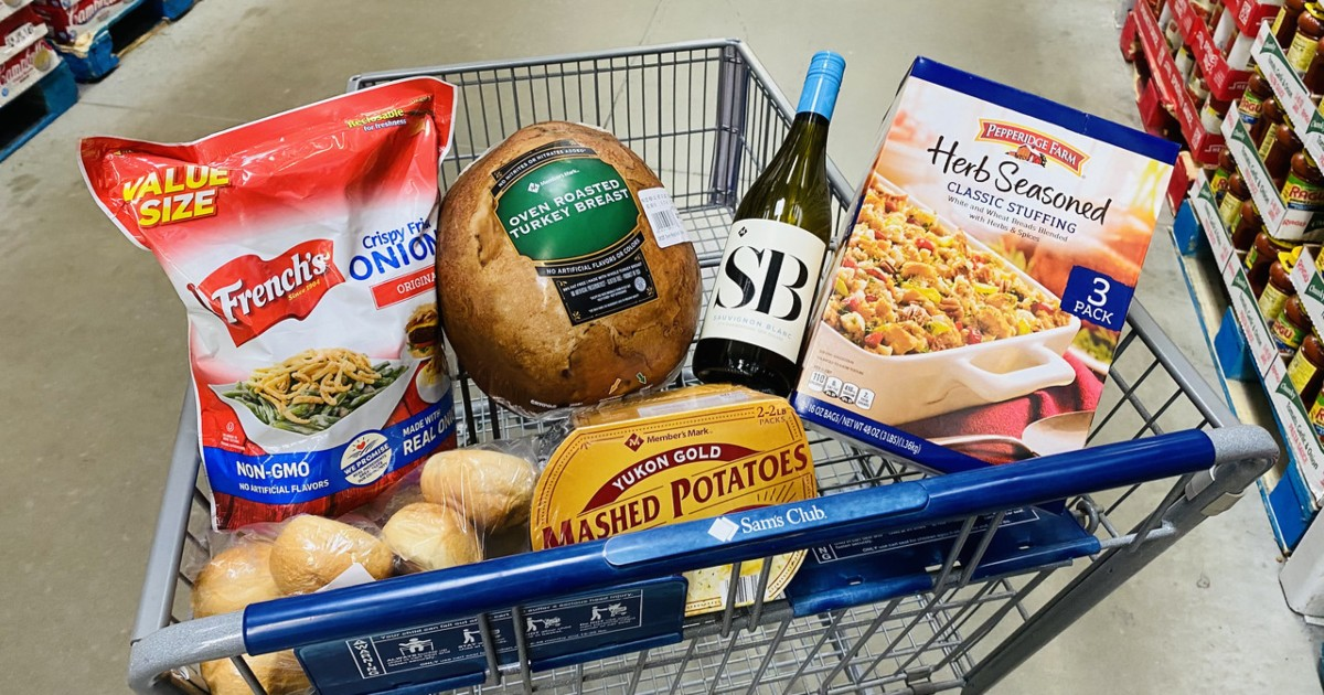 Sam's Club Thanksgiving foods in shopping cart