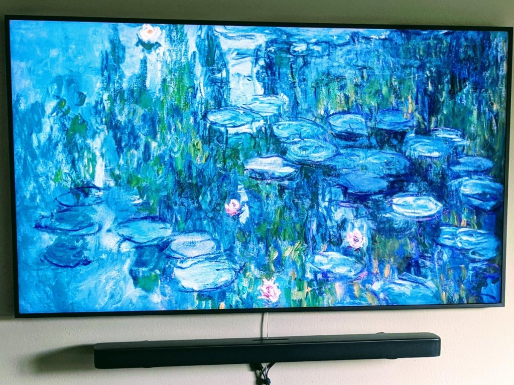 Frame TV showing water lillies painting