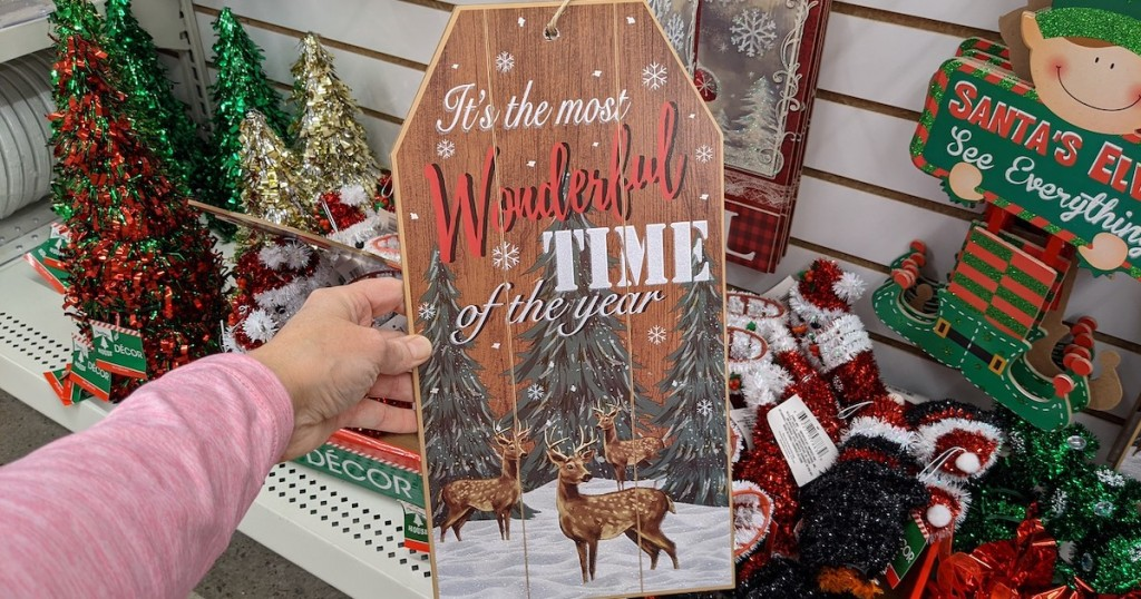 hand holding its the most wonderful time of the year sign