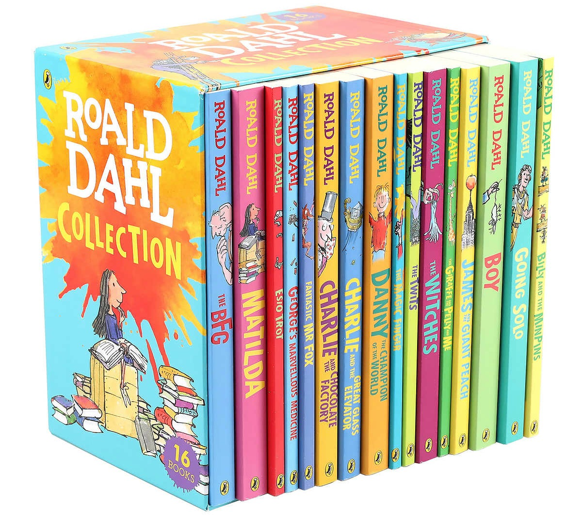 collection of paperback roald dahl books in a box