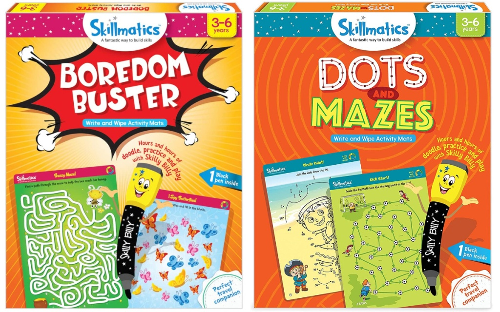 skillmatics boredeom buster games two board games side by side