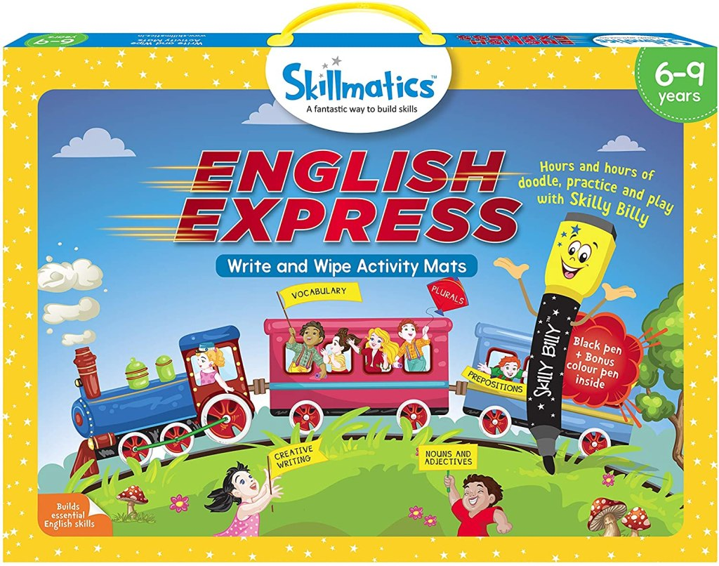 skillmatics english express game in box