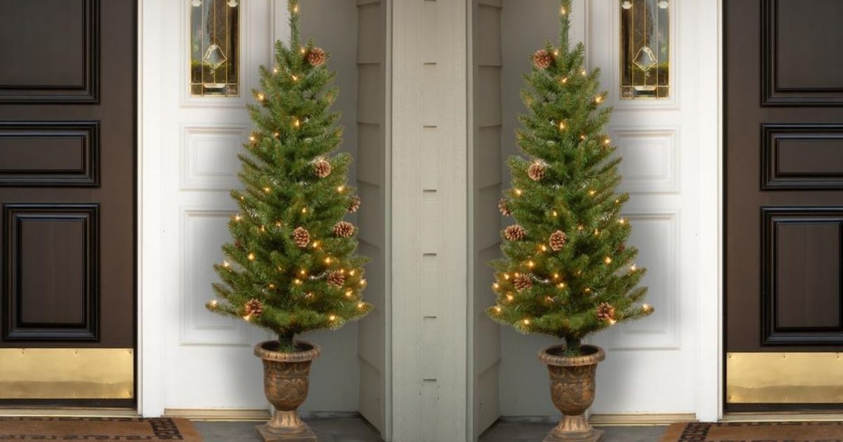 2 pre-lit small Christmas trees on porch