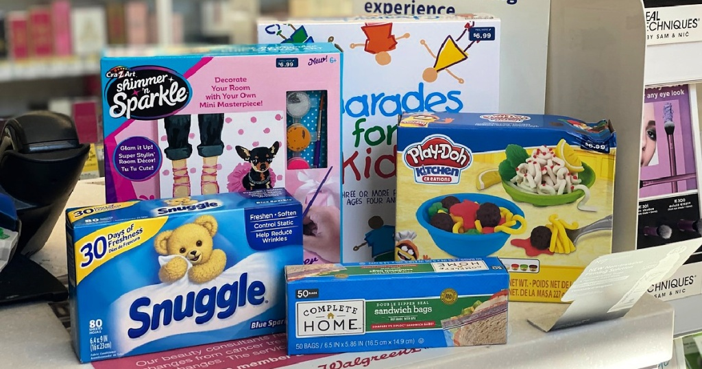 snuggle dryer sheets and toys on counter at walgreens