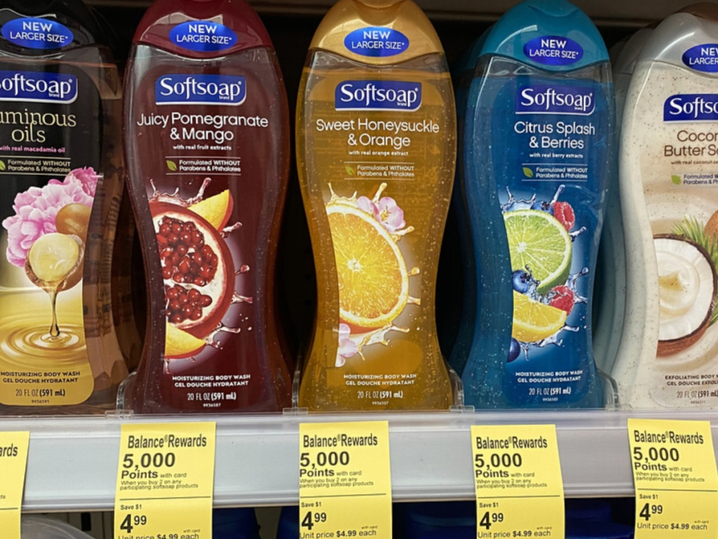 bottles of body wash on store display